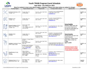 Youth TRAIN Program Event Schedule